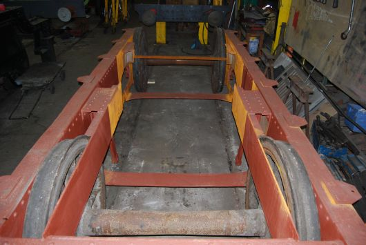 The stripped down 'Fowler' tender frames are seen in April 2013 prior to restoration. Photo by Andrew Laws